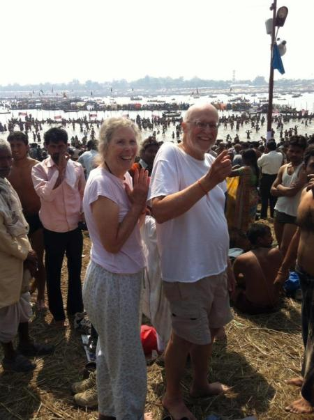 Prudence and Albert getting ready to bathe in the Ganges at the Kumbh Mela