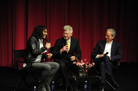 Russell Brand and David Lynch talk Transcendental Meditation with Bob Roth. Credit/Copyright: Amy Graves via The TASC Group
