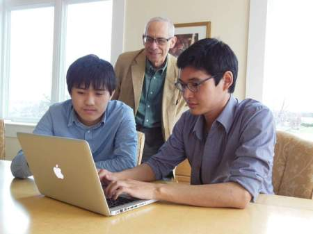 Maharishi University of Management students Khongor Enkhbold, left, and Khasan Bold, right, talk to M.U.M. Public Relations Officer Ken Chawkin, back, about their online computer programming competitions. Enkhbold and Bold claimed fifth and seventh place, respectively, in a nationwide competition earlier this year, which earned them an all-expenses-paid trip to Silicon Valley.