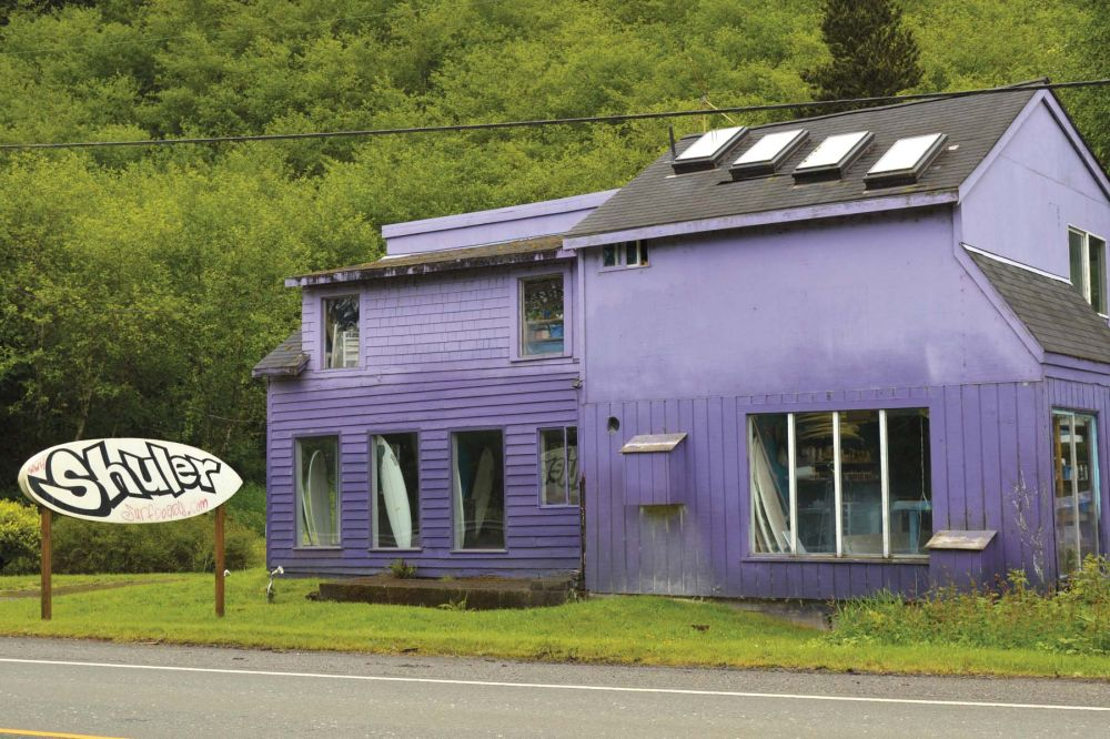 You might have noticed Shuler Surfboards before – it's located in a purple building south of Seaside at milepost 24 on U.S. Highway 101.