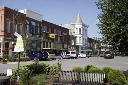 Shops on the square in downtown Fairfield, a mixture of classic Main Street Iowa and international fare. / Register file photo