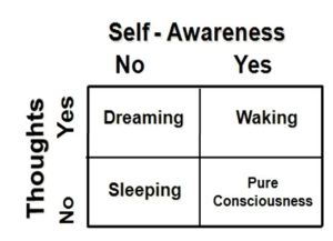 This figure, a 2 X 2 table, compares subjective and objective experiences during waking, sleeping, dreaming, and pure consciousness. As seen in this table, waking state contains a sense of self and mental content, thoughts and perceptions. In contrast, during pure consciousness, there is only Self-awareness, without any sense of time, space, and body awareness.