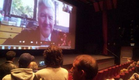 David Lynch speaks to Israeli moviegoers via Skype, on Monday