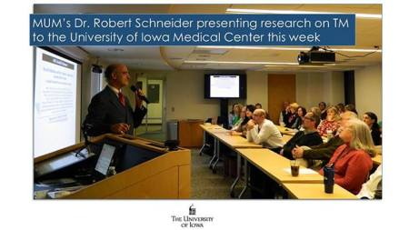 MUM's Dr. Robert Schneider presenting research at UIMC