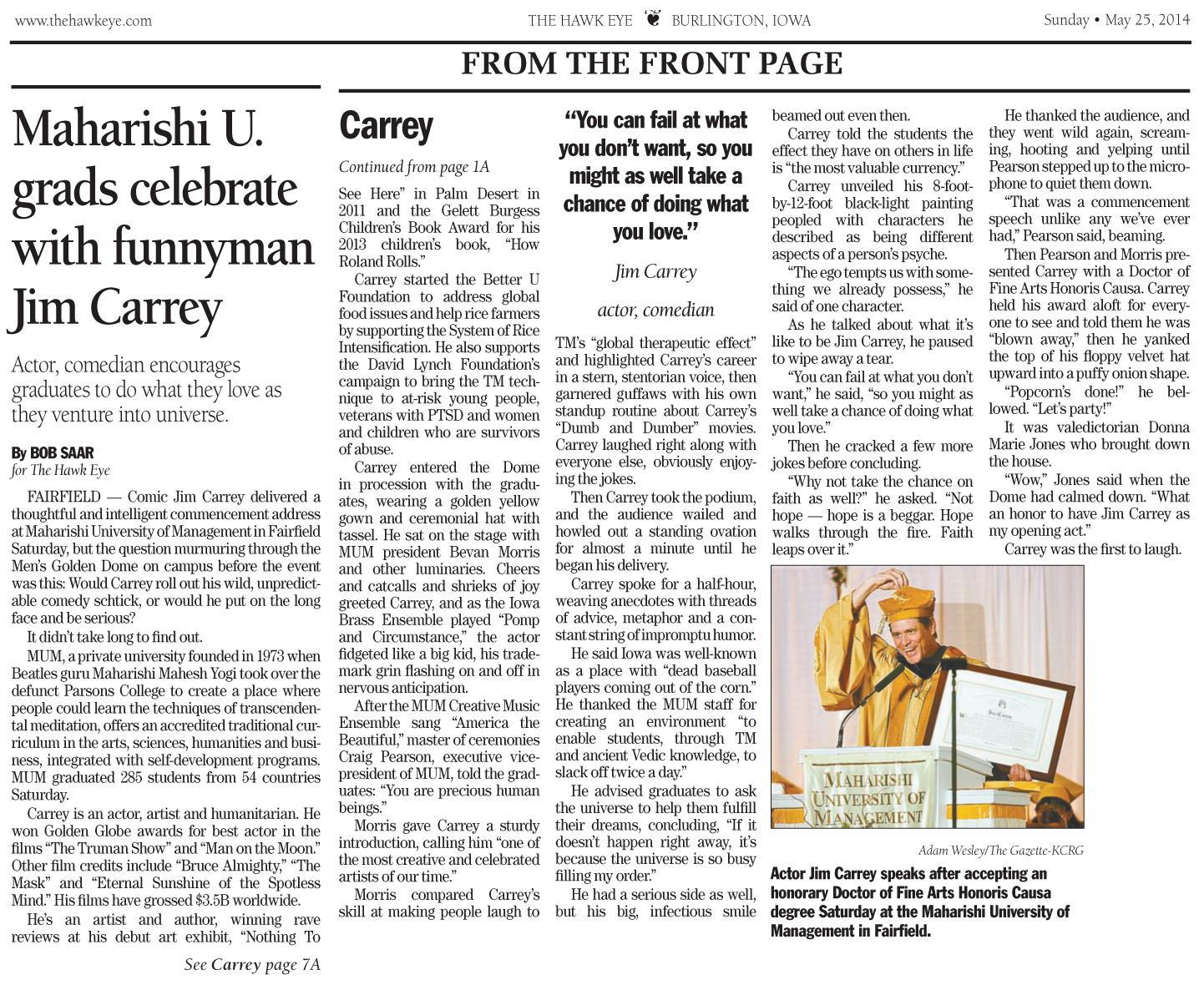 Maharishi U. grads celebrate with funnyman Jim Carrey