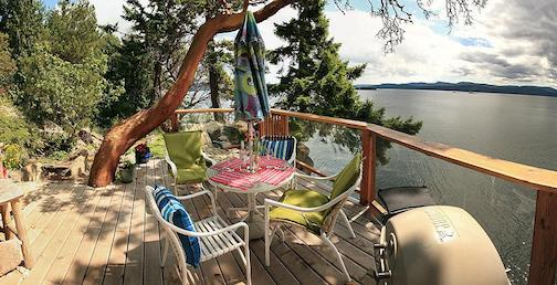 Arbutus Tree in The Cliffhouse Cottage deck