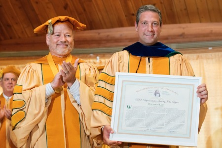 Maharishi University President John Hagelin Bestows Honorary Doctorate on Congressman Tim Ryan at Graduation 2017